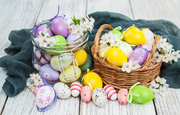 Picture flowers, eggs, colorful, Easter, happy, wood, pink, blossom, flowers, spring, Easter, eggs, decoration, basket