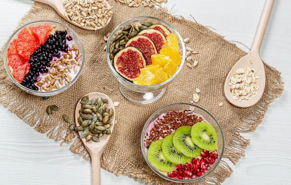 Picture orange, grain, kiwi, fruit, seeds, garnet, figs