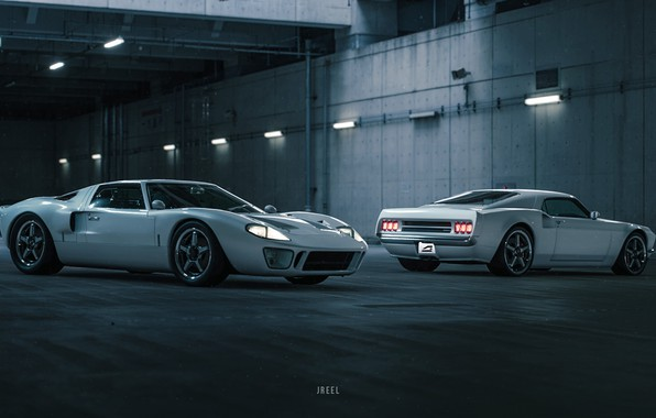 Picture Ford, Auto, The game, White, Machine, Two, Ford GT, Rendering, GT40, Transport & Vehicles, by …