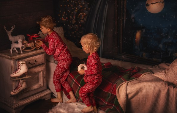 Picture night, children, room, toys, bed, window, Christmas, table, skates, Lisowska Monika