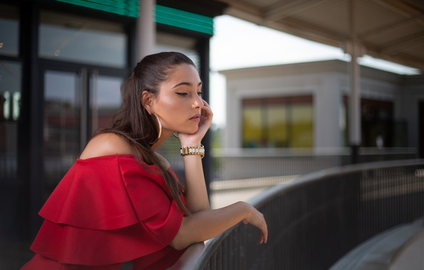 Picture girl, pose, earrings, in red, bokeh