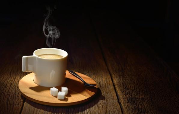 Picture coffee, spoon, Cup, sugar, foam