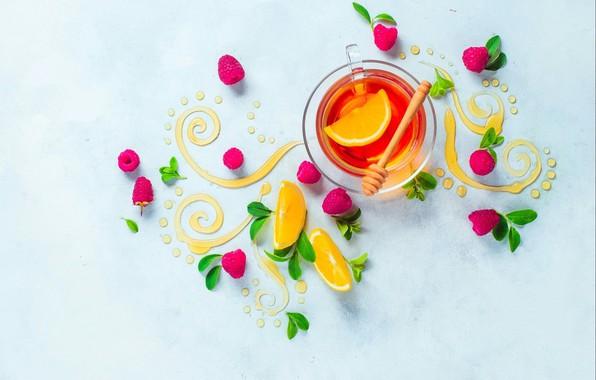 Picture leaves, raspberry, pattern, lemon, tea, food, still life, honey