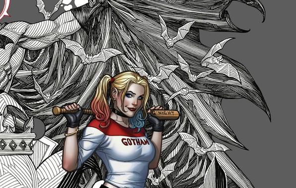 Picture girl, Batman, bat, superheroes, DC Comics, Harley Qiunn, baseball bat