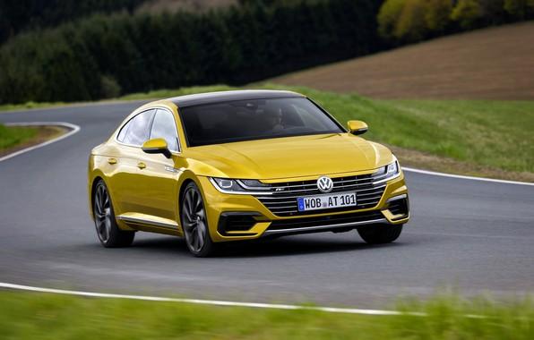 Picture field, grass, asphalt, yellow, Volkswagen, 2018, R-Line, liftback, 2017, Arteon