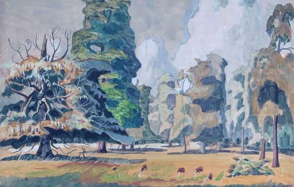 Picture trees, mushrooms, Charles Ephraim Burchfield, Summer Grove