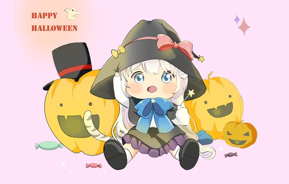 Picture holiday, anime, art, pumpkin, Halloween, Happy Halloween, The song