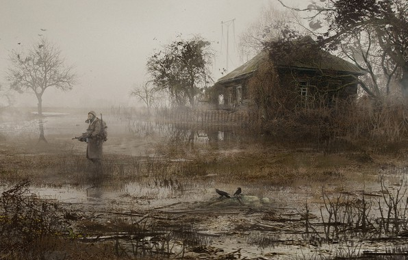 Picture House, Soldiers, Stalker, Pripyat, STALKER, Fog, Mac Rebisz, by Mac Rebisz