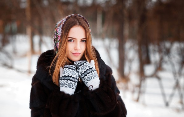 Picture winter, look, snow, trees, nature, pose, model, portrait, makeup, hairstyle, coat, fur, beauty, shawl, redhead, …
