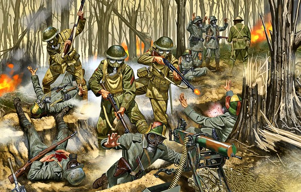 Picture Battle, gas mask, Soldiers, machine gun, the trench, Western front, MG 08, The first World …