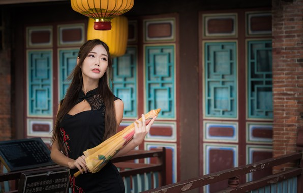 Picture girl, umbrella, dress, Asian, graceful