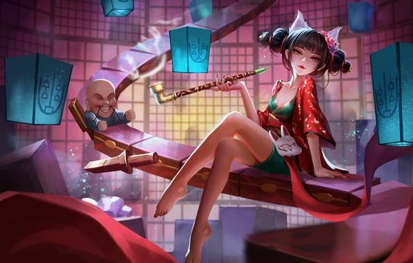 Picture Girl, Fantasy, Art, Asian, Illustration, Figure, Smoking Pipe, The fox spirit of white snake, Nadine …