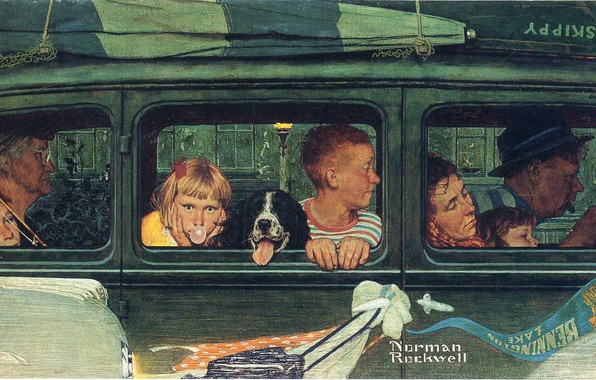 Picture machine, boat, dog, family, trip, Norman Rockwell, Illustration