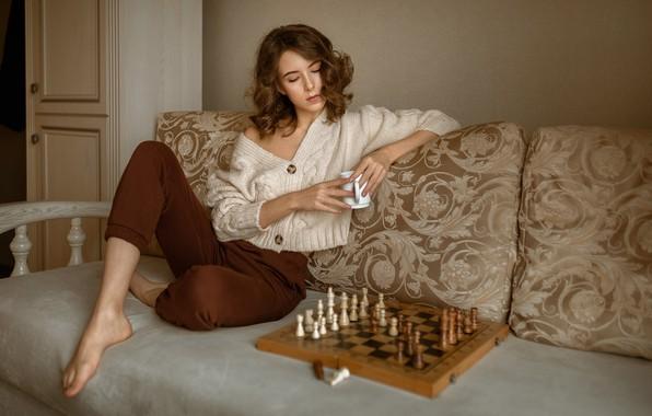 Picture girl, pose, mood, chess, jacket, pants, Albert Forest, Виктория Макаренко