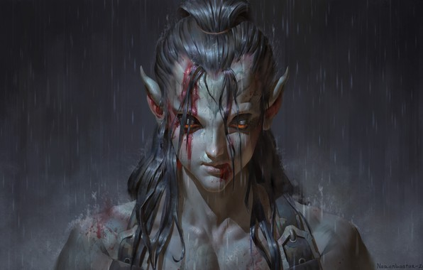 Picture fantasy, rain, art, Asar, Ganbold Added, Наранбаатар
