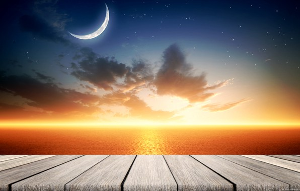 Picture sea, the sky, the moon, calm, a remake