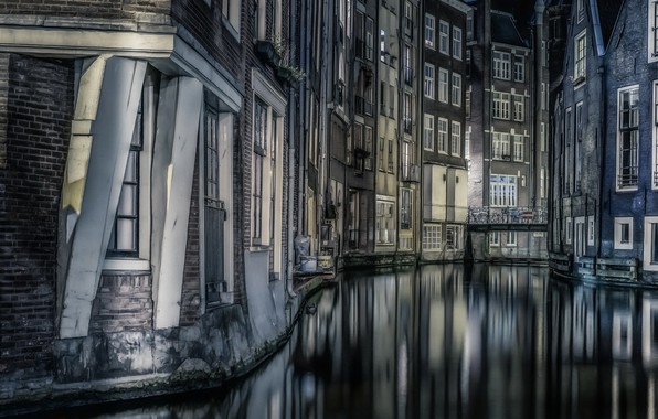 Picture Amsterdam, Night, reflections, Buildings