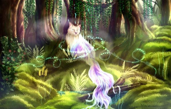Picture trees, green grass, world of fantasy, mythical animal, призрачный кот