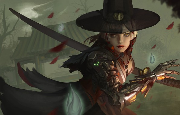 Picture look, leaves, girl, weapons, hand, hat, art, cyborg