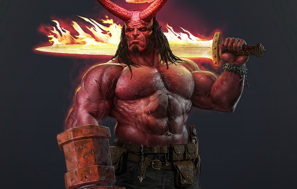 Picture sword, crown, concept, the demon, horns, demon, fire, sword, Jock, muscle, brutality, Hellboy, Hellboy
