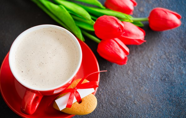 Picture love, flowers, bouquet, hearts, tulips, red, red, love, flowers, romantic, hearts, tulips, coffee cup, valentine's …