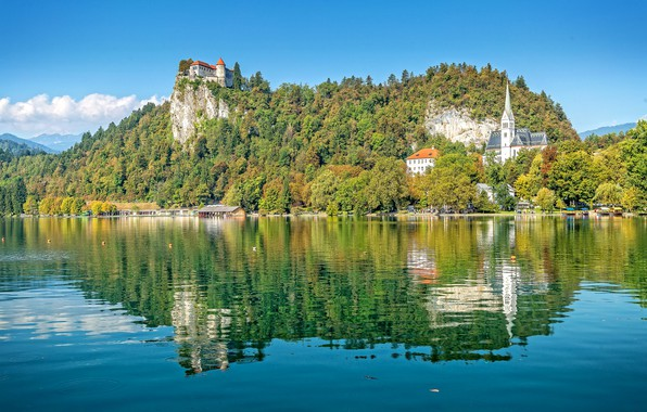 Picture the sky, lake, photo, mountain, bled