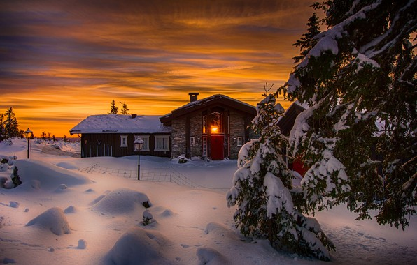 Picture winter, snow, trees, landscape, sunset, nature, house, ate, Norway, Jørn Allan Pedersen
