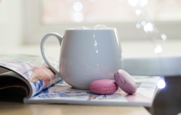 Picture light, coffee, cookies, mug, Cup