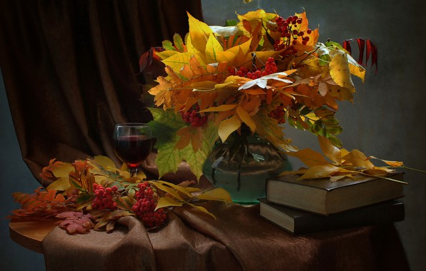 Picture leaves, branches, berries, glass, books, vase, maple, drink, still life, table, Rowan, bunches, curtain, Kovaleva …