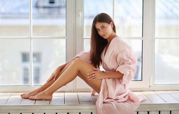 Picture look, girl, Alina, window, legs, Bathrobe, Dmitry Arhar, Alina Sabirova
