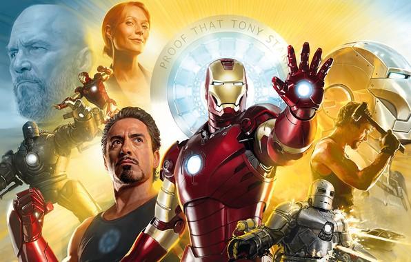 Picture 2008, Art, Iron Man, Tony Stark, Iron Man, Tony Stark, Gwyneth Paltrow, Pepper Potts, Rober …