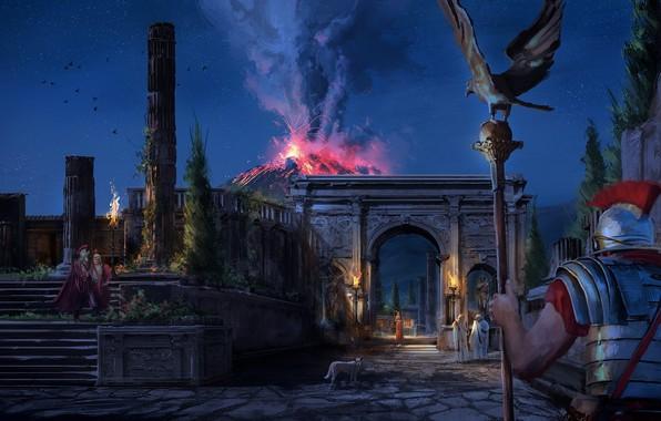 Picture the sky, night, eagle, stars, the volcano, warrior, the eruption, Legionnaire, Pompeii