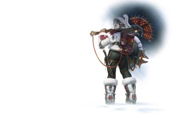 Picture winter, girl, warrior, Illustrator, AGOTO -, Frost - Mercenary_Axe Hunter