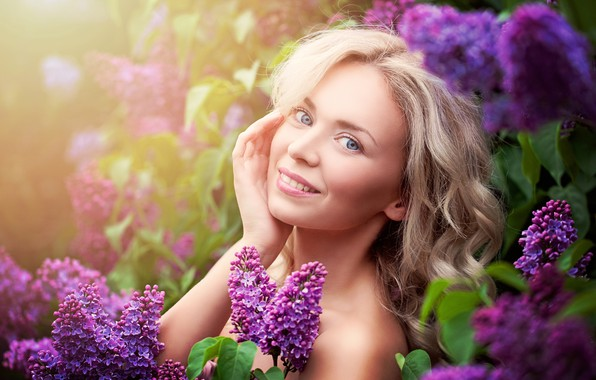 Picture look, flowers, pose, smile, model, portrait, makeup, garden, hairstyle, blonde, lilac, bokeh