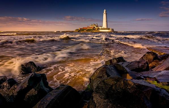 Picture sea, wave, landscape, sunset, nature, stones, lighthouse, surf