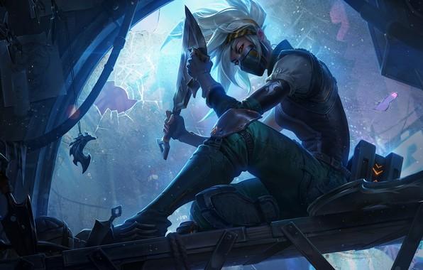 Picture look, girl, blade, knife, art, Akali, League of Legends, Rogue Assassin