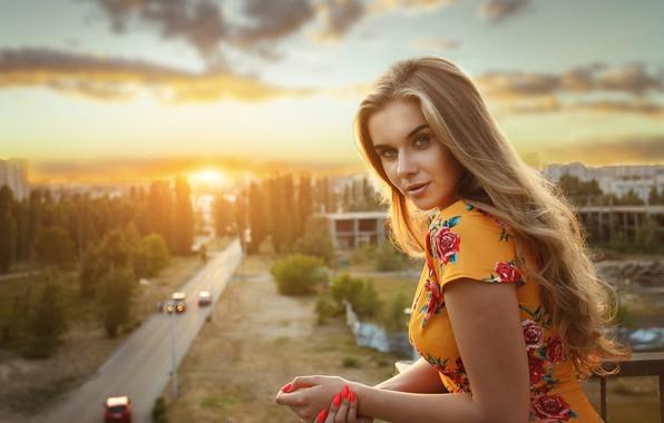 Picture look, sunset, portrait, hands, blonde, long hair, manicure, Barbara, Alexander Astakhov