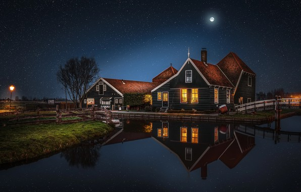 Picture water, stars, reflection, night, the city, house, the moon, house, Netherlands