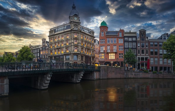 Picture bridge, building, home, Amsterdam, channel, Netherlands, Amsterdam, Netherlands, The Keizersgracht Canal, Keizersgracht Chanel