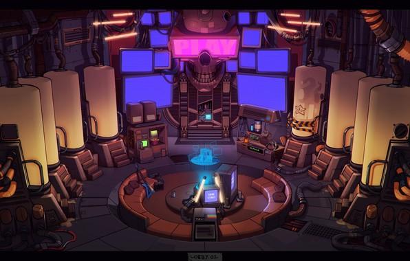 Picture Concept Art, Science Fiction, Cyberpunk, Game Art, Lobby, by Luke Viljoen, Luke Viljoen, Hero Grinder, …