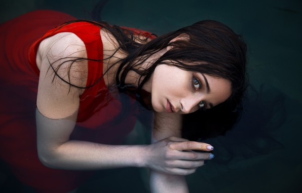 Picture look, water, girl, face, mood, hand, the situation, red dress, Алина Колесникова