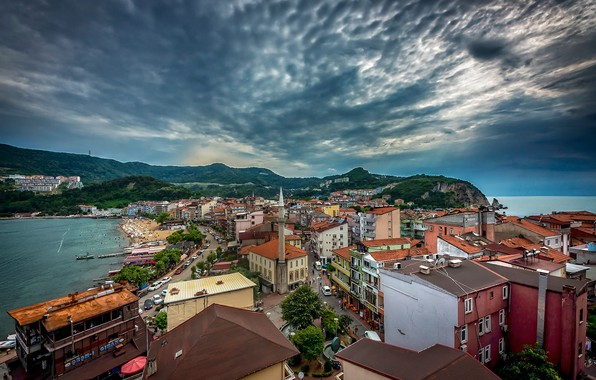 Picture sea, the sky, building, home, Turkey, Turkey, The black sea, Black Sea, Amasra, Amasra