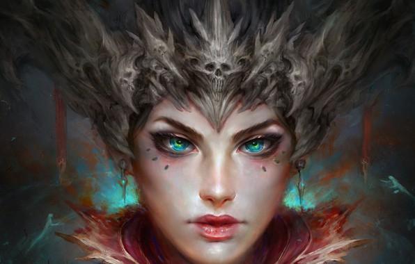 Picture eyes, look, girl, face, fantasy, art, skull