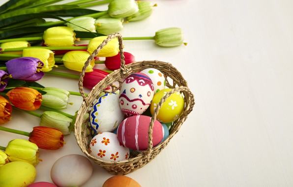Picture flowers, eggs, colors, colorful, Easter, tulips, happy, wood, flowers, tulips, eggs, easter, decoration