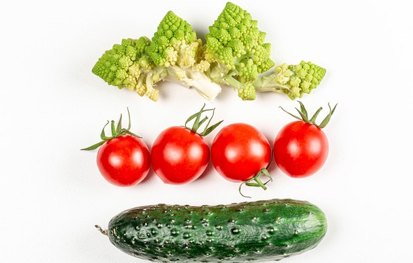 Picture cucumber, white background, vegetables, tomatoes, broccoli