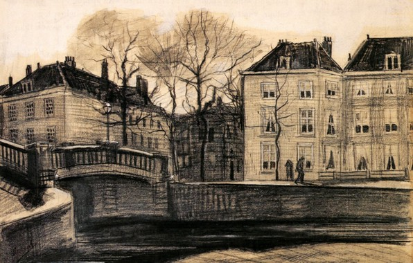 Picture Drawings, Vincent van Gogh, The Hague, on the Corner of Herengracht-Prinsessegracht, Bridge and Houses