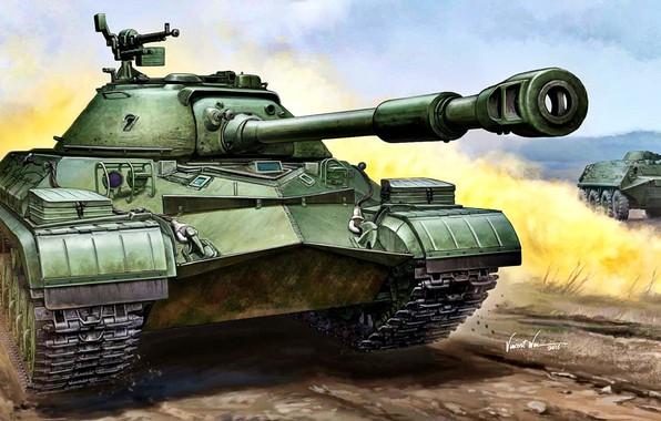 Picture BTR, heavy tank, T-10, The Soviet Army, DSCNT, 122-mm tank gun D-25ТА, latest serial