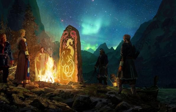 Picture fire, night, art, women, boat, warriors, fiord, Crusader Kings 3, Crusader Kings III