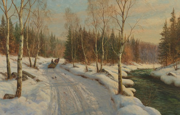 Picture Danish painter, 1919, Peter Merk Of Menstad, Peder Mørk Mønsted, Danish realist painter, Sleigh ride …