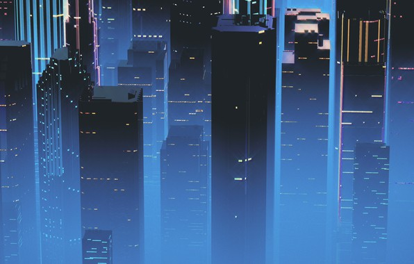 Picture Night, Music, The city, Skyscrapers, Background, Neon, 80's, Synth, Retrowave, Synthwave, New Retro Wave, Futuresynth, ...